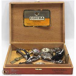 COHIBA CIGAR BOX WITH  WATCHES ESQ TIMES OILERS