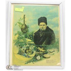 ANTIQUE FRAMED POSTER OF TARAS SHEVECHENKO