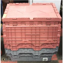 5 COMMERCIAL HEAVY DUTY FOLDING LID TOTES