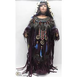 """CERAMIC NATIVE DOLL 24"""" PLUS TALL IN TRADITIONAL"""