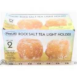 SET OF  2 ROCK SALT TEA LIGHT HOLDERS NEW IN BOX