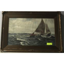 ANTIQUE FRAMED PICTURE OF SHIP