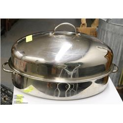LARGE STAINLESS STEEL ROASTER WITH LID