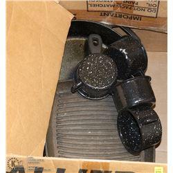 SET OF 3 CAST IRON PANS WITH SET OF 4 ENAMEL MUGS
