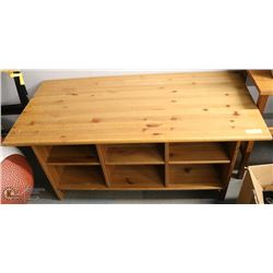 SOLID WOOD COFFEE TABLE W/6 STORAGE