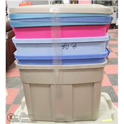 LOT OF 4 RUBBERMAID ROUGHNECK TOTES WITH LIDS