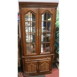 WOOD GLASS DOOR CHINA CABINET WITH LIGHTING & 3
