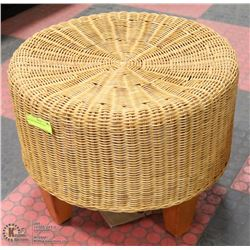 WICKER AND WOOD STOOL