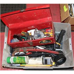 BOX OF ASSORTED TOOLS: SOCKETS, PIPE WRENCH