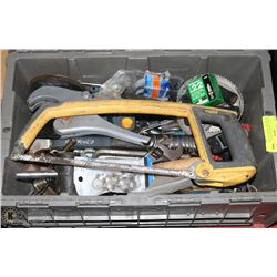 TOTE OF ASSORTED TOOLS: WRENCHES, SOCKETS, CUTTERS