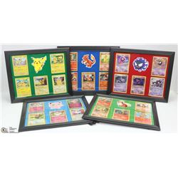LOT OF 5 FRAMED POKEMON CARD PICTURES.