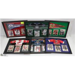 LOT OF 6 FRAMED CARD PICTURES INCL EDMONTON, LA,