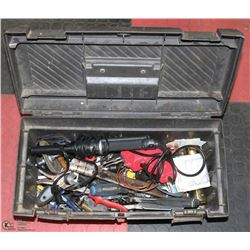 BOX OF ASSORTED TOOLS: SOLDERING EQUIPMENT,