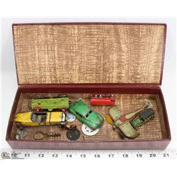 ANTIQUE PENNY TIN TOYS IN CIGAR BOX