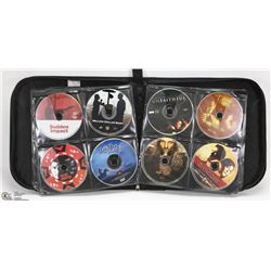 BLACK LEATHER CD CASE FULL OF DVD MOVIES -