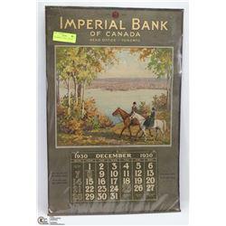 1930 IMPERIAL BANK CALENDAR