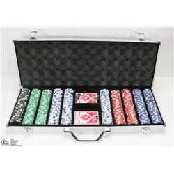 LARGE POKER CHIP SET IN LOCKING CASE.