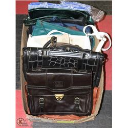 BOX W/16 PURSES (SOME LEATHER) -