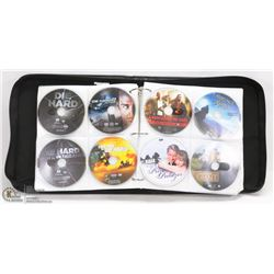BLACK LEATHER DVD CARRY CASE FULL OF DVD