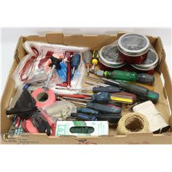 LARGE FLAT OF TOOLS & HARDWARE INCL.