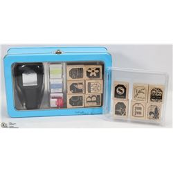 BOX W/SCRAPBOOKING STAMP SET & STAMPS -