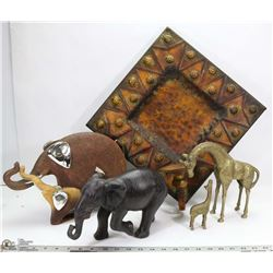 LARGE FLAT W/SAFARI ELEPHANTS, BRASS