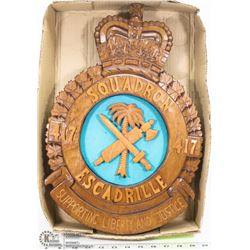 417 SQUADRON CARVED WOOD PIECE