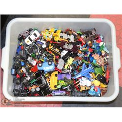 BIN OF ASSORTED HOT WHEEL TYPE TOYS