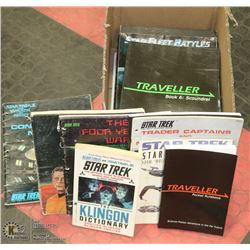 BOX OF STAR TREK GAMING BOOKS AND MORE