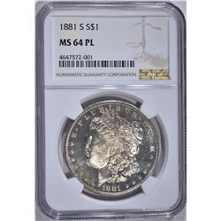 1881-S MORGAN DOLLAR , NGC MS-64 PL