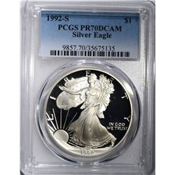 1992-S AMERICAN SILVER EAGLE, PCGS PR-70 DCAM