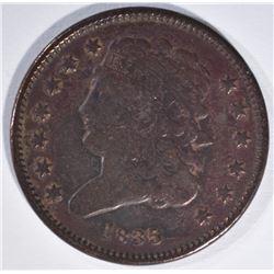 1835 HALF CENT, FINE