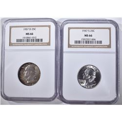 1947-S & 57-D WASHINGTON QUARTERS, NGC MS-66