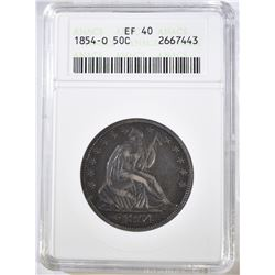 1854-O SEATED HALF DOLLAR, ANACS EF-40