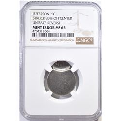JEFFERSON NICKEL MINT ERROR, NGC MS-65
