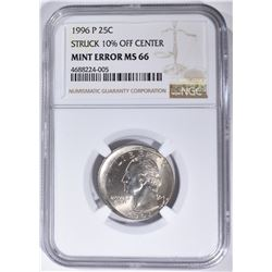 1996-P MINT ERROR WASHINGTON QUARTER, NGC MS-66