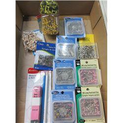 Bundle of New Pins / satin pins , glasshead pins , pearlized pins etc.