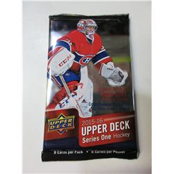 New Upper Deck 2015/16 Pack of 8 series one Factory Sealed Hocky cards