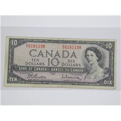 Bank of Canada 1954 Ten Dollar Note. Modified Port