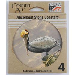 Set (4) Stone Pelican Coasters