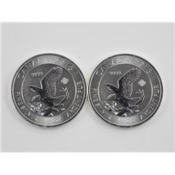Lot (2) .9999 Fine Silver Flying Eagle $2.00 Coin