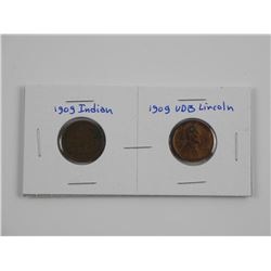 Lot (2) 1909 US Pennies Indian Head and UDB Lincol