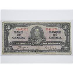 Bank of Canada 1937 Ten Dollar Note. C/T