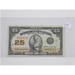 Dominion of Canada 1923 - 25 Cent Note F+