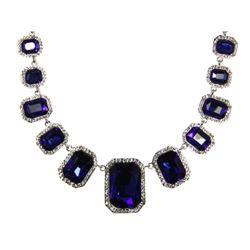 Custom Necklace Sapphire Blue, Swarovski Elements