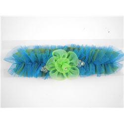 Blue/Green Tulle Flower Garter