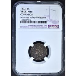 1872 INDIAN CENT, NGC VF DETAILS CORROSION
