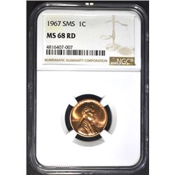 1967 SMS LINCOLN CENT NGC MS68 RD