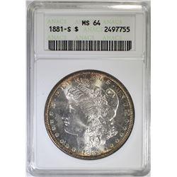 1881-S MORGAN DOLLAR, ANACS MS-64