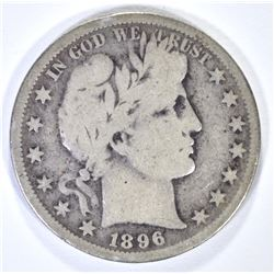 1896-S BARBER HALF DOLLAR, VG